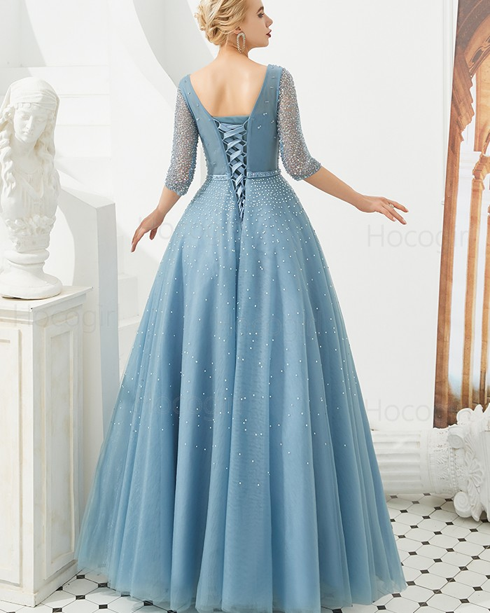 2befd3b6bbb0 ... Beading Tulle Dusty Blue Evening Dress with Half Length Sleeves. -41% V- neck ...