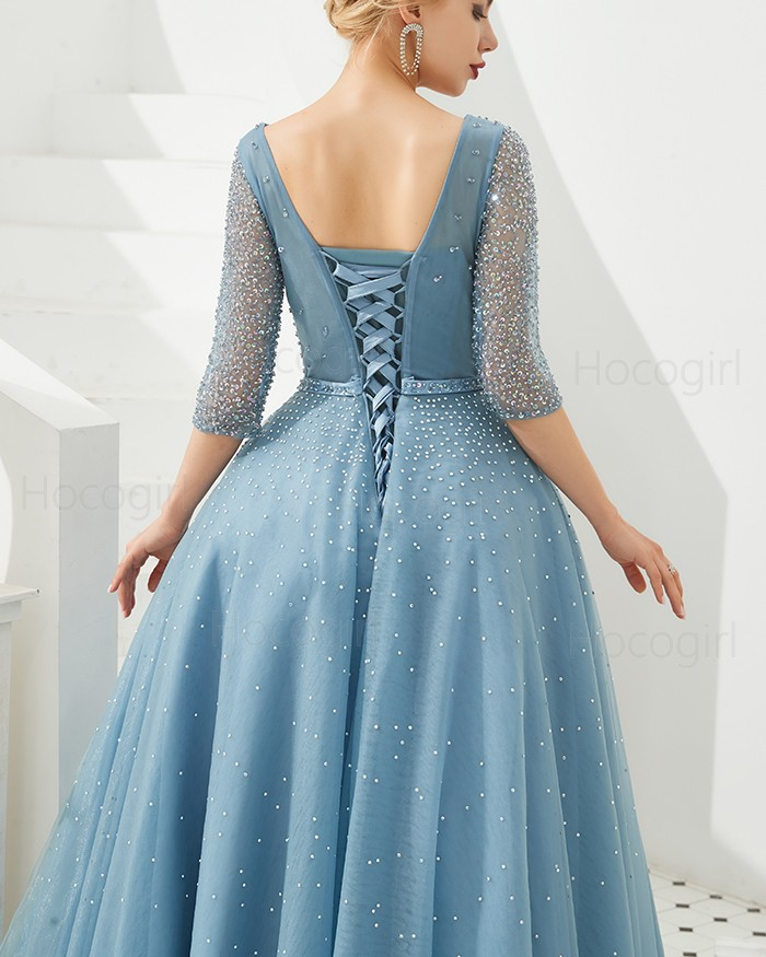 5b597b8b26a0 Shop v-neck beading tulle dusty blue evening dress with half length ...
