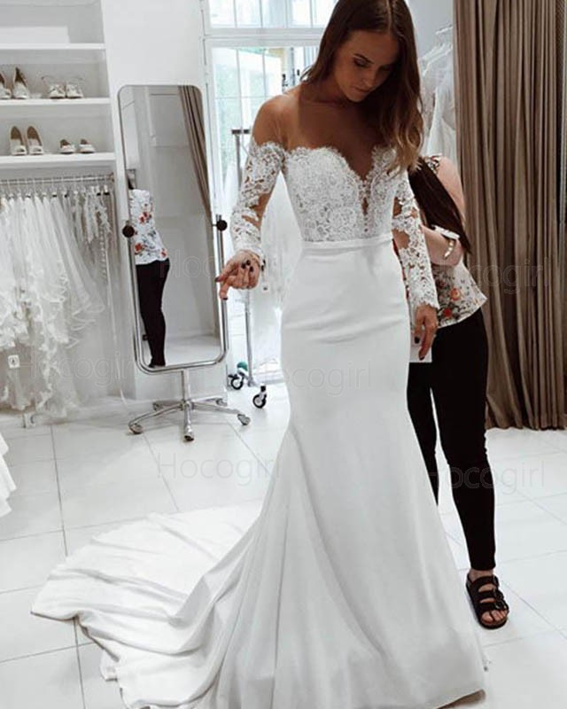 Ivory Lace Bodice Ball Gown Wedding Dress With Sheer Long: Shop Sheer Neck White Lace Bodice Mermaid Satin Wedding