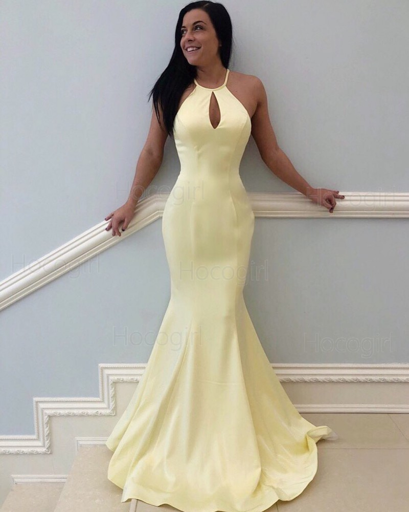 High Neck Light Yellow Satin Mermaid Prom Dress PD1794