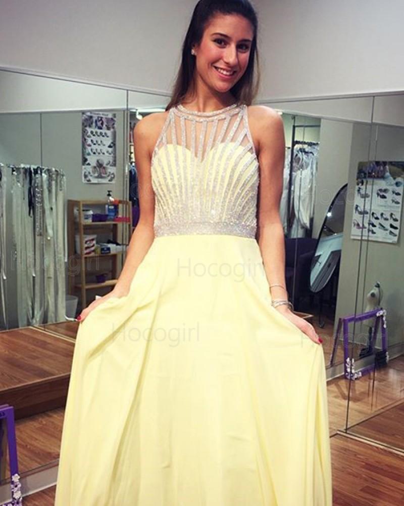 High Neck Yellow Beading Chiffon Floor Length Prom Dress PD1002