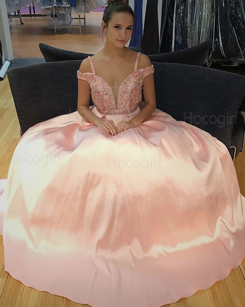 Long Cold Shoulder Beading Pink Satin Ball Gown Prom Dress PD1014