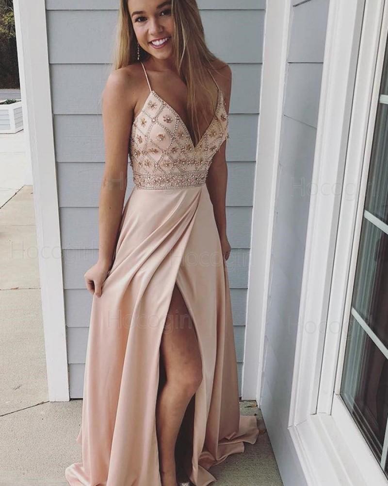 Spaghetti Straps V-neck Beading Chiffon Nude Prom Dress with Slit PD1030