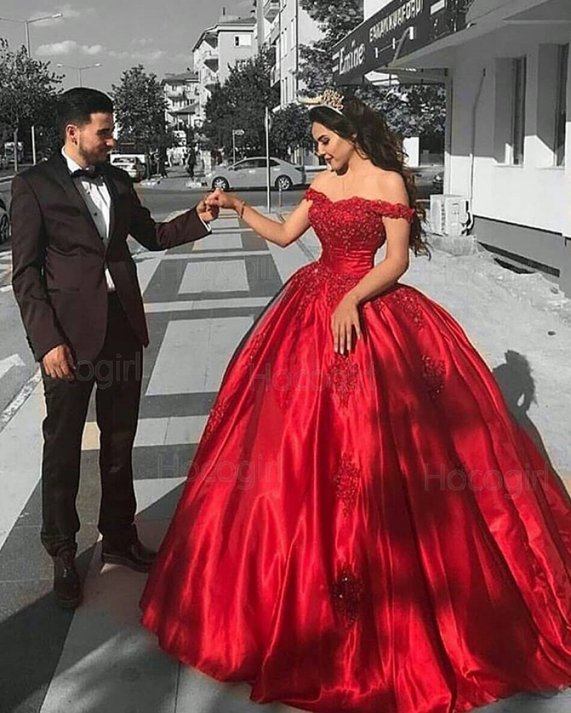 Off the Shoulder Lace Bodice Red Satin Ball Gown Prom Dress PD1036