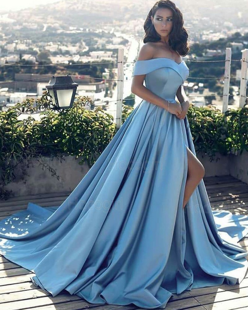 Off the Shoulder Dusty Blue Satin Pleated Evening Dress with High Slit PD1043