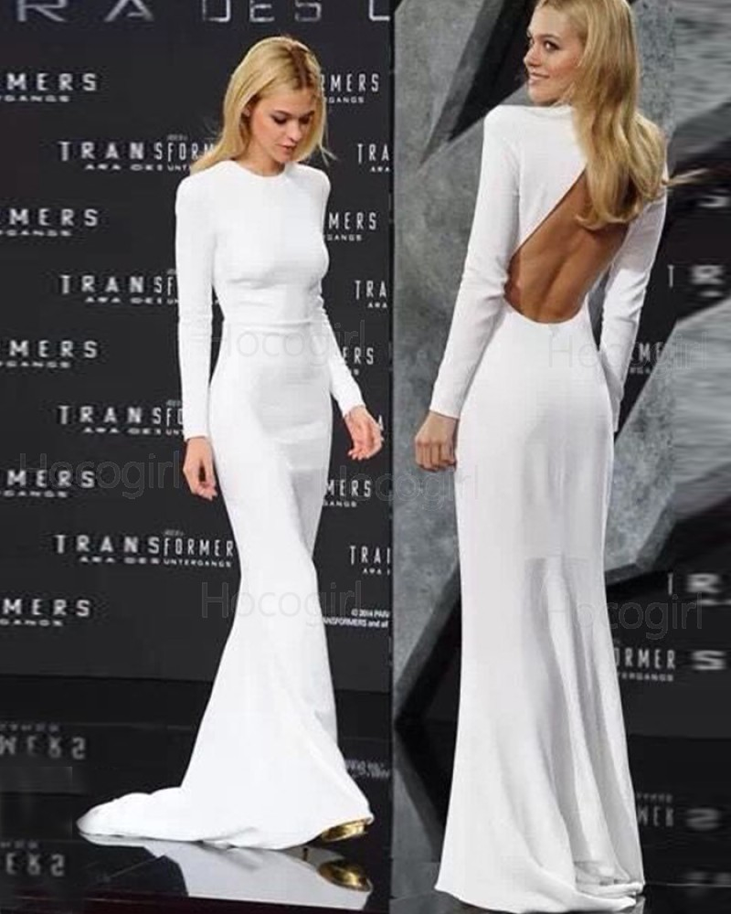 High Neck White Mermaid Evening Dress with Long Sleeve PD1045