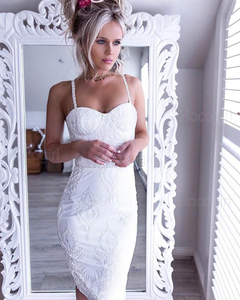 Sexy Square Lace White Knee Length Sheath Graduation Dress HD3003