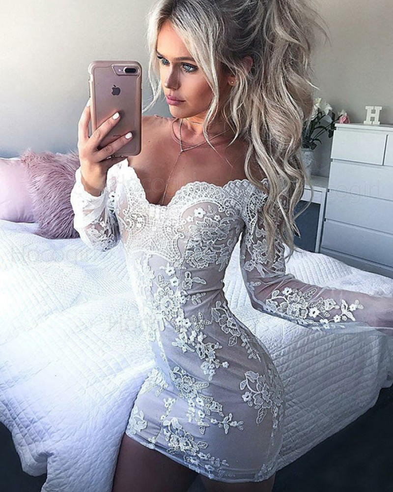 Off the Shoulder White Lace Applique Tight Party Dress with Long Sleeves HD3007