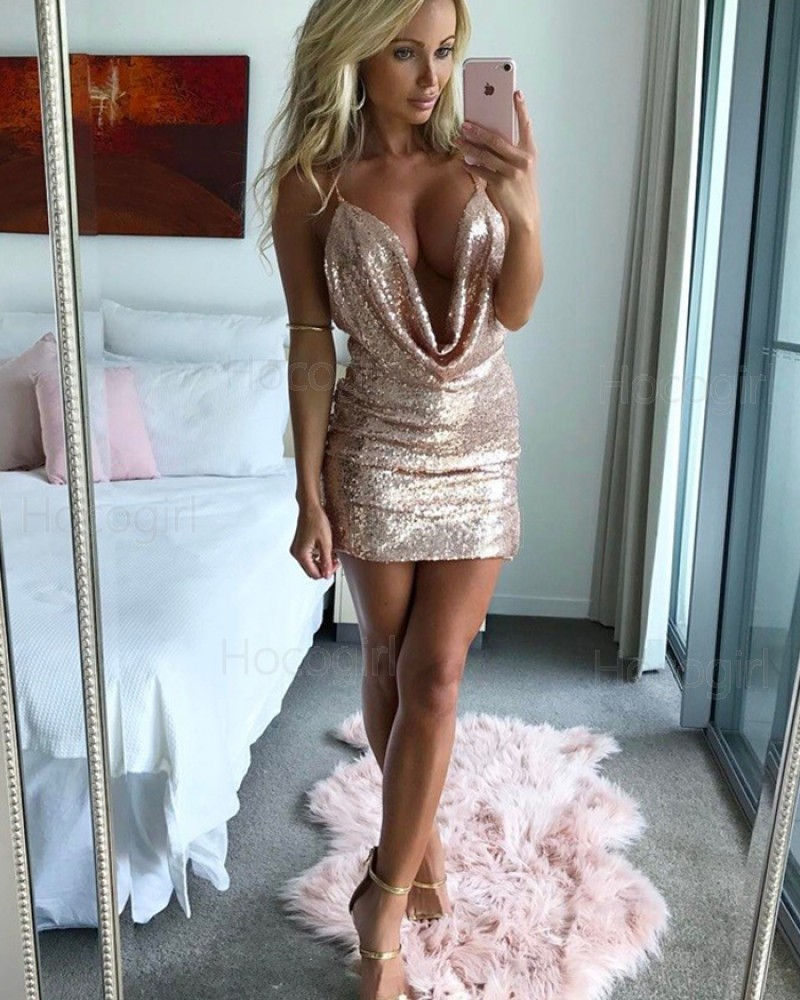 Sheath Spaghetti Straps Gold Sequined Tight Homecoming Dress HD3008