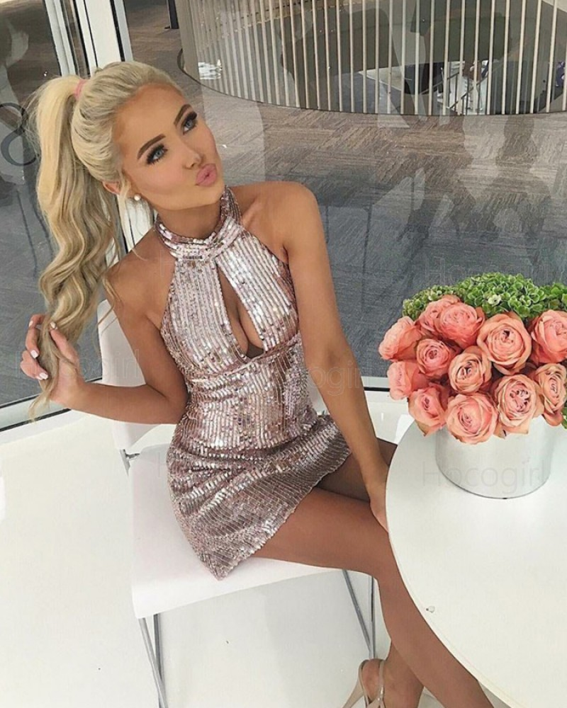 Sexy High Neck Sequined Gold Cutout Short Sheath Party Dress HD3009