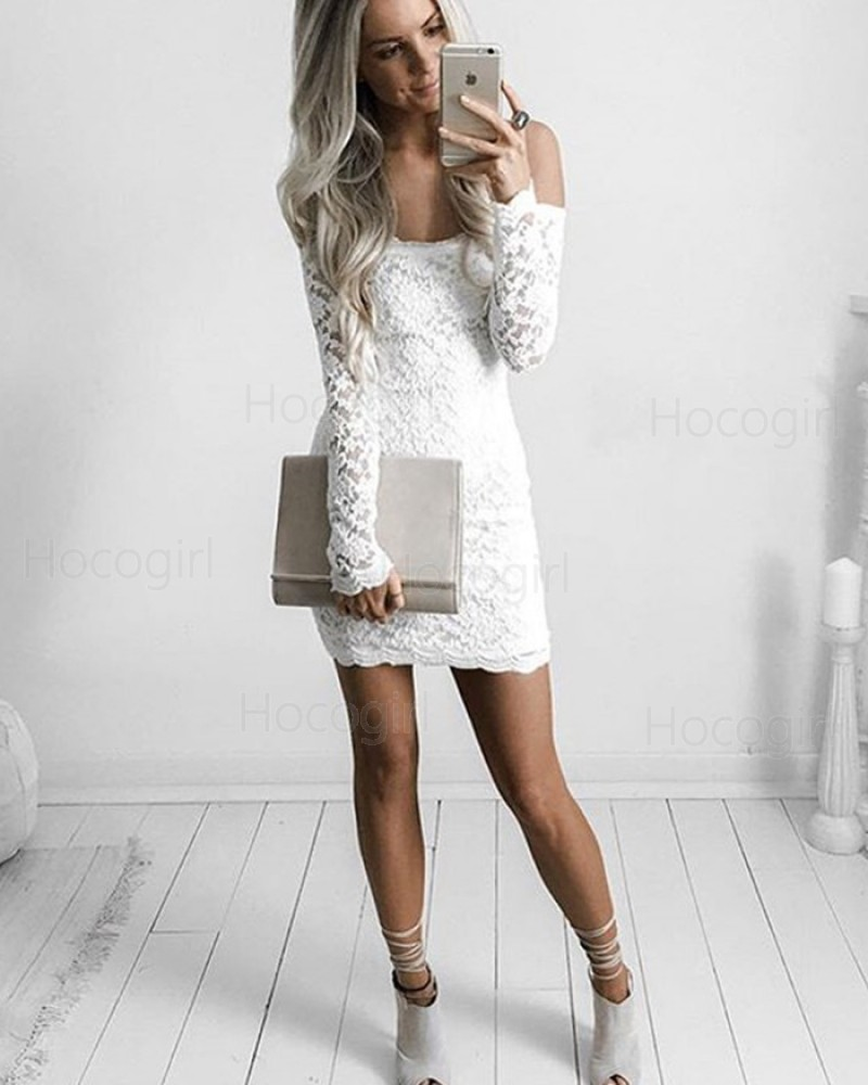 White Lace Spaghetti Tight Party Dress with Long Sleeves HD3012