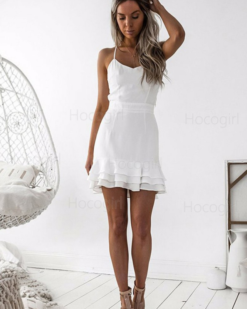 Spaghetti Straps Chiffon Tight Simple Homecoming Dress with Layered Hemline HD3043