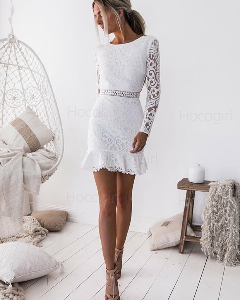 Jewel White Bodycon Lace Homecoming Dress with Long Sleeves HD3140