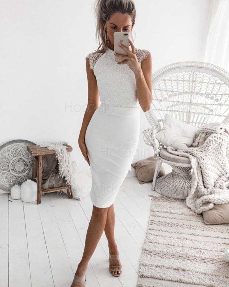 High Neck White Tight Lace Bodice Satin Sheath Club Dress HD3163