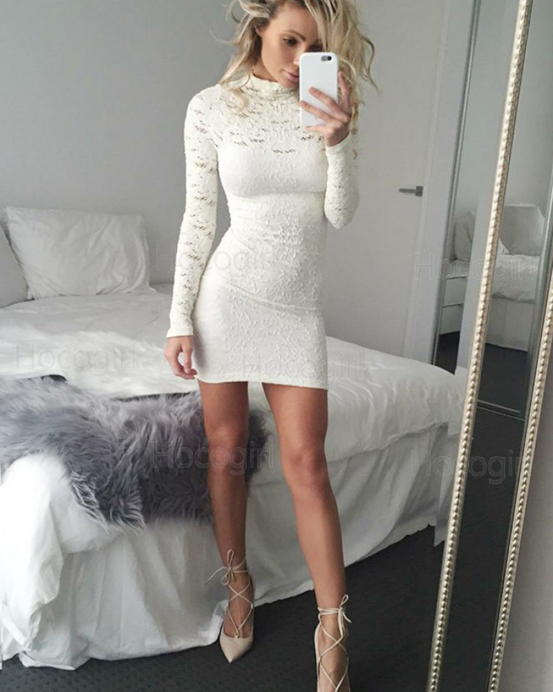High Neck White Tight Club Dress with Long Sleeves HD3177