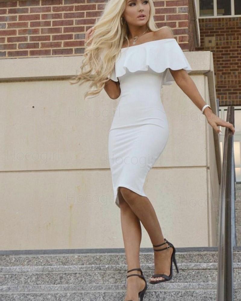 off the Shoulder White Knee Length Graduation Dress HD3188