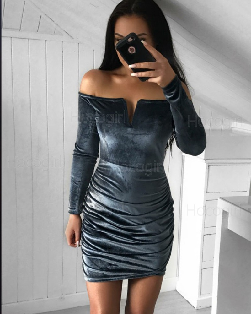 Off the Shoulder Black Velvet Cutout Tight Club Dress with Long Sleeves HD3219