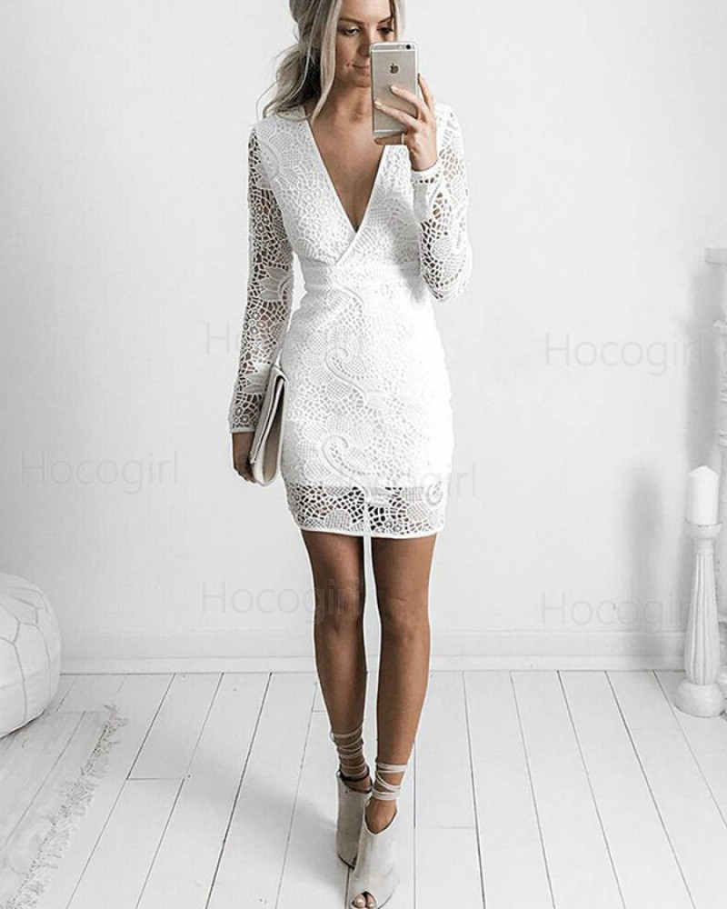 White V-neck Lace Tight Graduation Dress with Long Sleeves HD3224