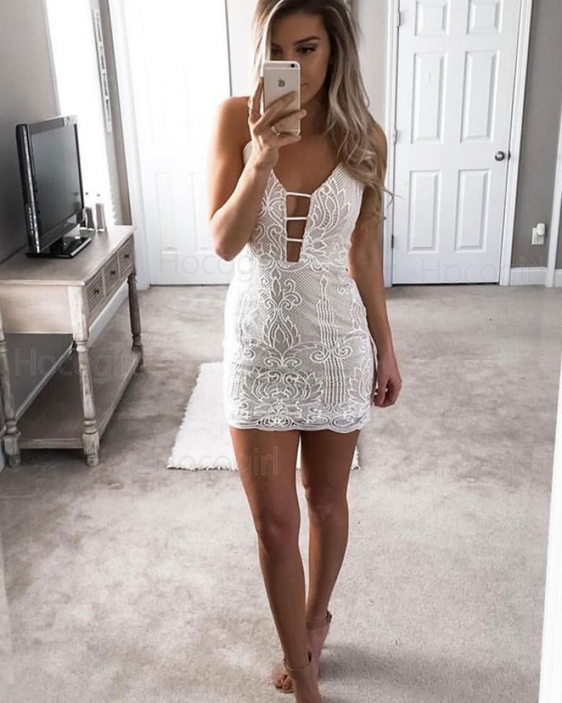Ivory Spaghetti Straps Cutout Tight Lace Sheath Club Dress HD3240