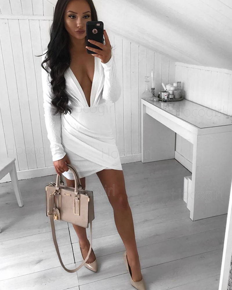 Shop Deep V-neck Sheath Ruched White Party Dress with Long Sleeves from  Hocogirl.com