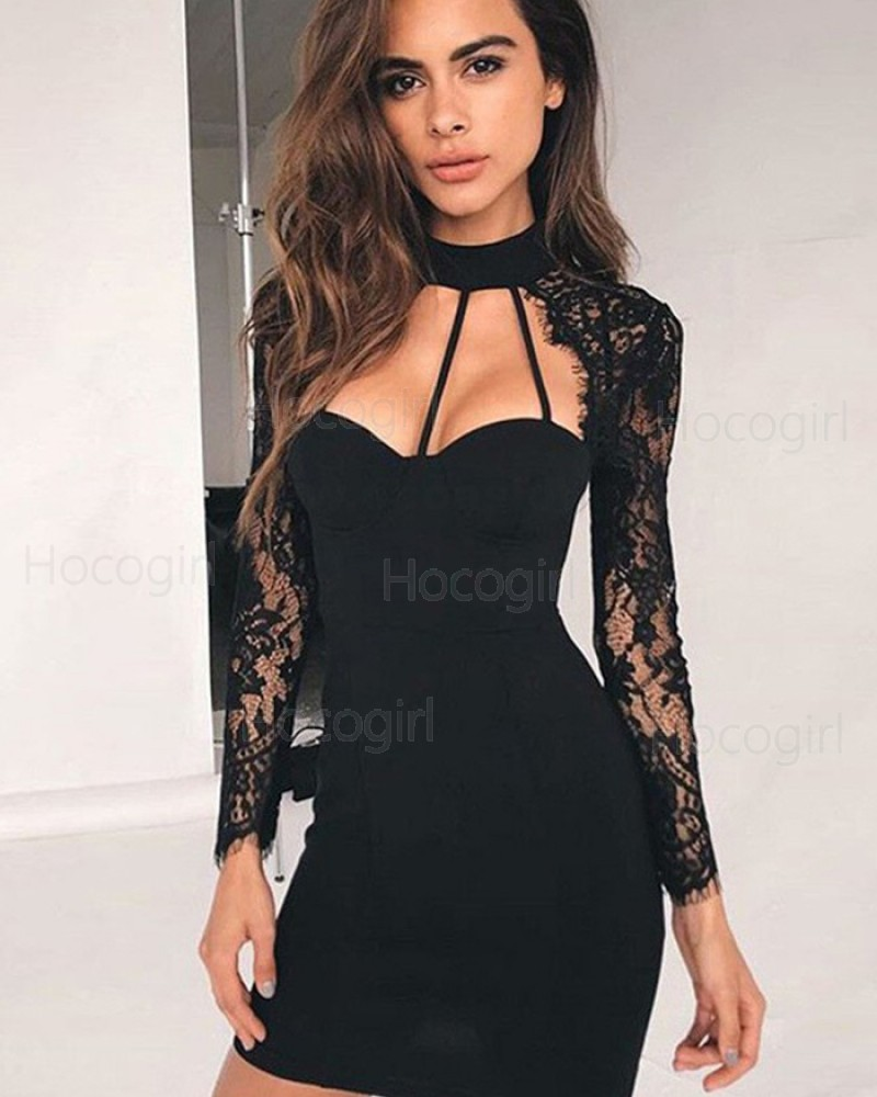 High Neck Black Cutout Tight Club Dress with Lace Long Sleeves HD3285