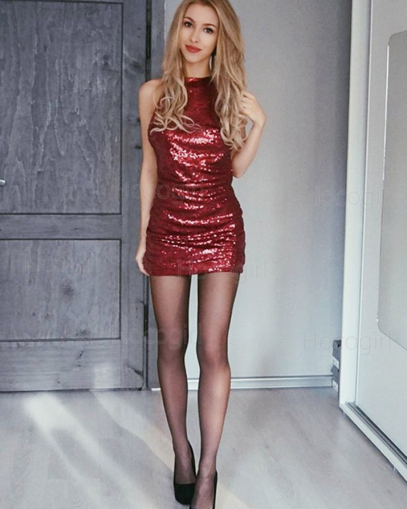 Sexy High Neck Rose Red Sequined Bodycon Club Dress HD3298