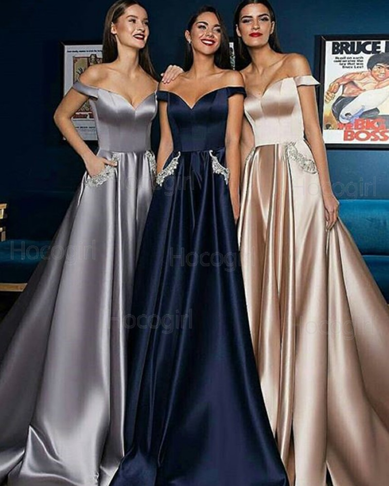 Off the Shoulder Satin Long Pleated Long Evening Dress with Beading Pockets BD2001