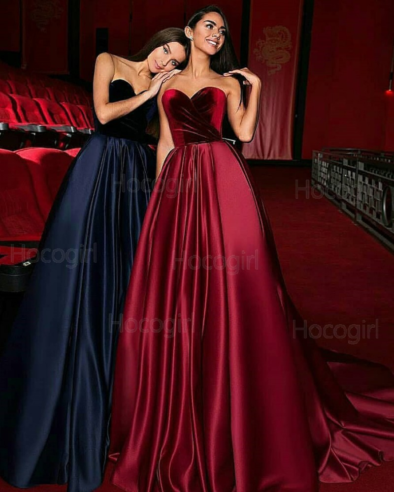 Sweetheart Satin Ruched Ball Gown Evening Dress with Court Train BD2003