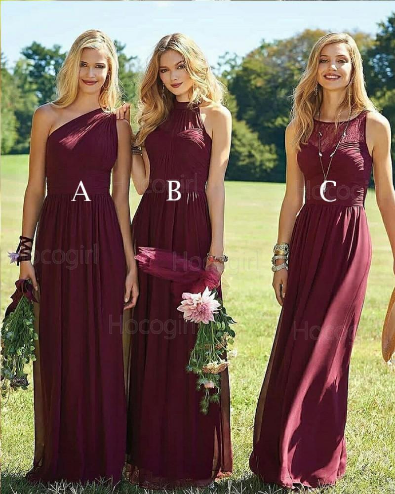 Long Flowing Pleated Burgundy Chiffon Bridesmaid Dress BD2007