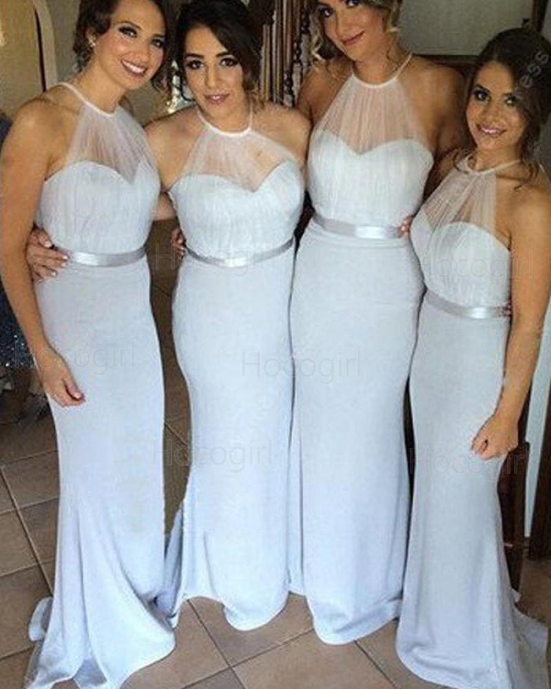 Halter Sheer Bodice Light Blue Mermaid Long Bridesmaid Dress BD2016
