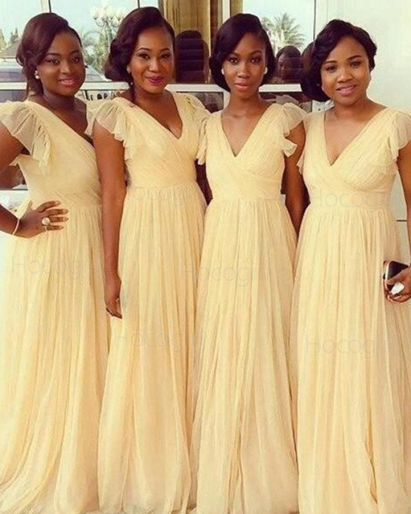 V-neck Yellow Ruched Floor Length Tulle Bridesmaid Dress BD2020