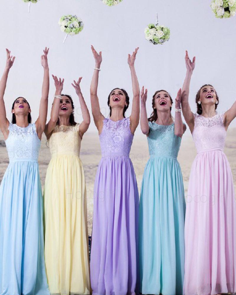 High Neck Lace Bodice Chiffon Long Bridesmaid Dress BD2024
