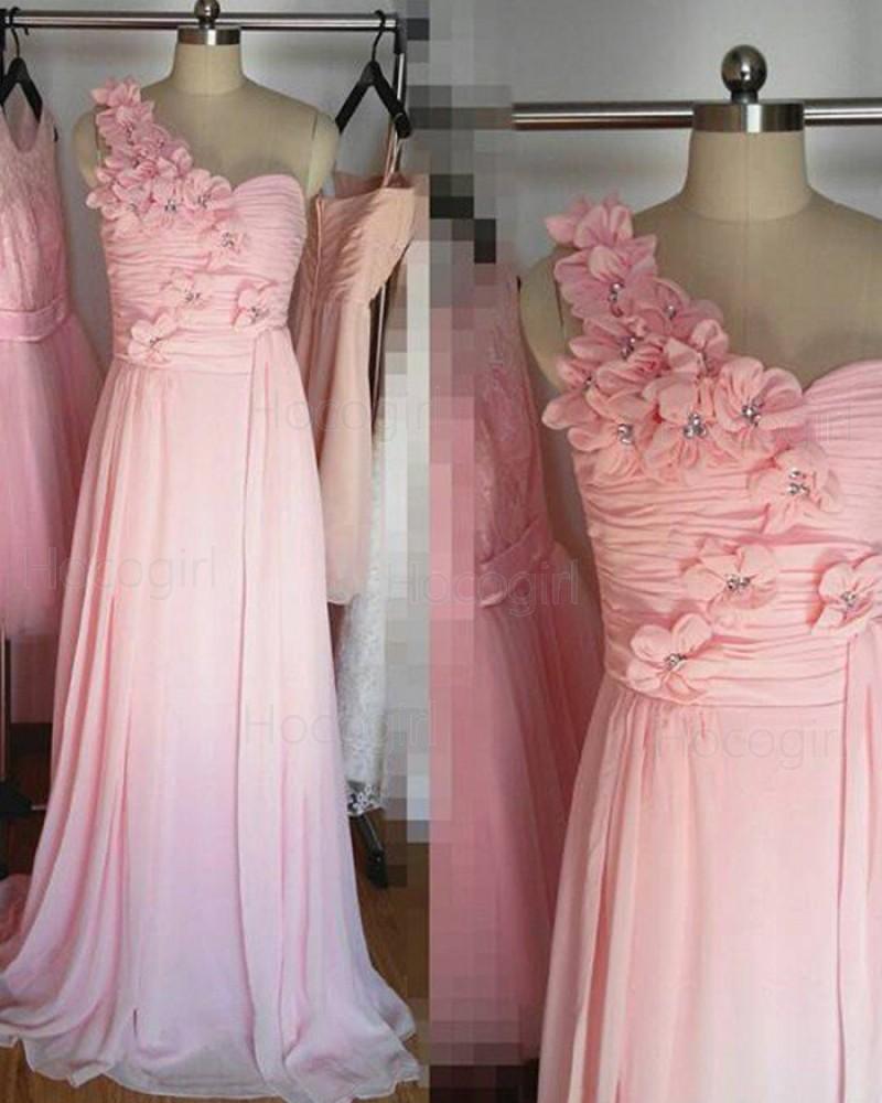 One Shoulder Handmade Flower Ruched Pink Long Bridesmaid Dress BD2025