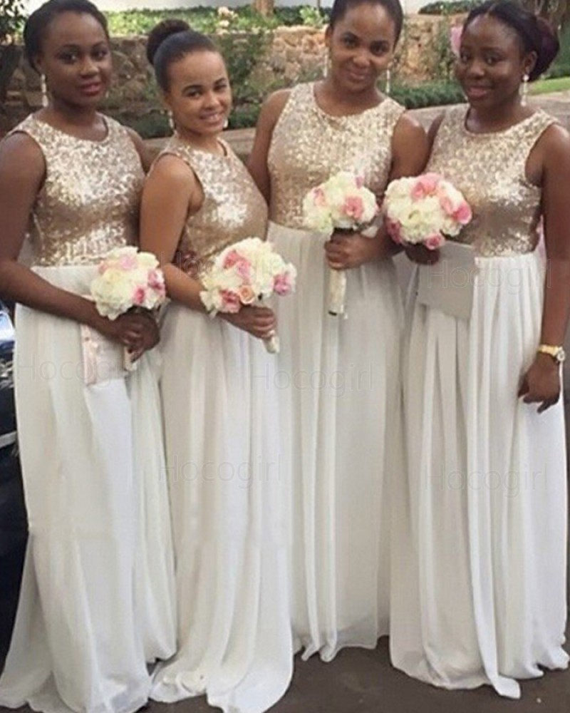 Gold and White Sequined Bodice Chiffon Brush Bridesmaid Dress BD2033
