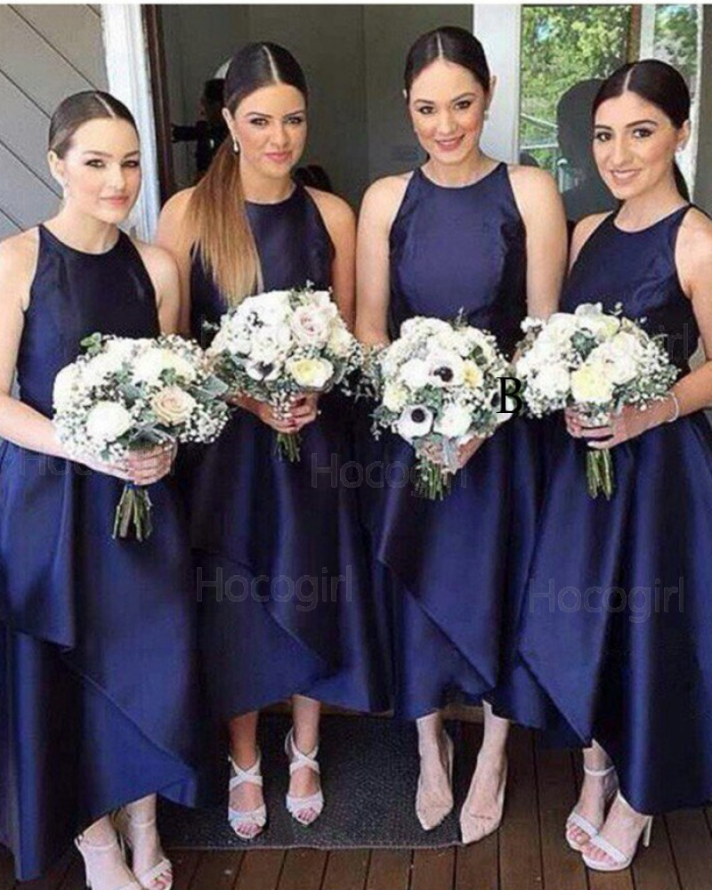 Round Neck Navy Blue Satin Tea Length Bridesmaid Dress BD2044