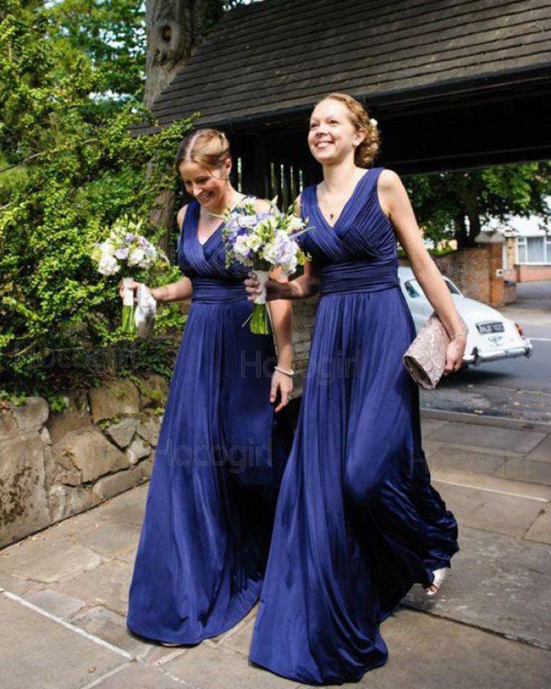 Simple V-neck Blue Ruched Long Bridesmaid Dress BD2053
