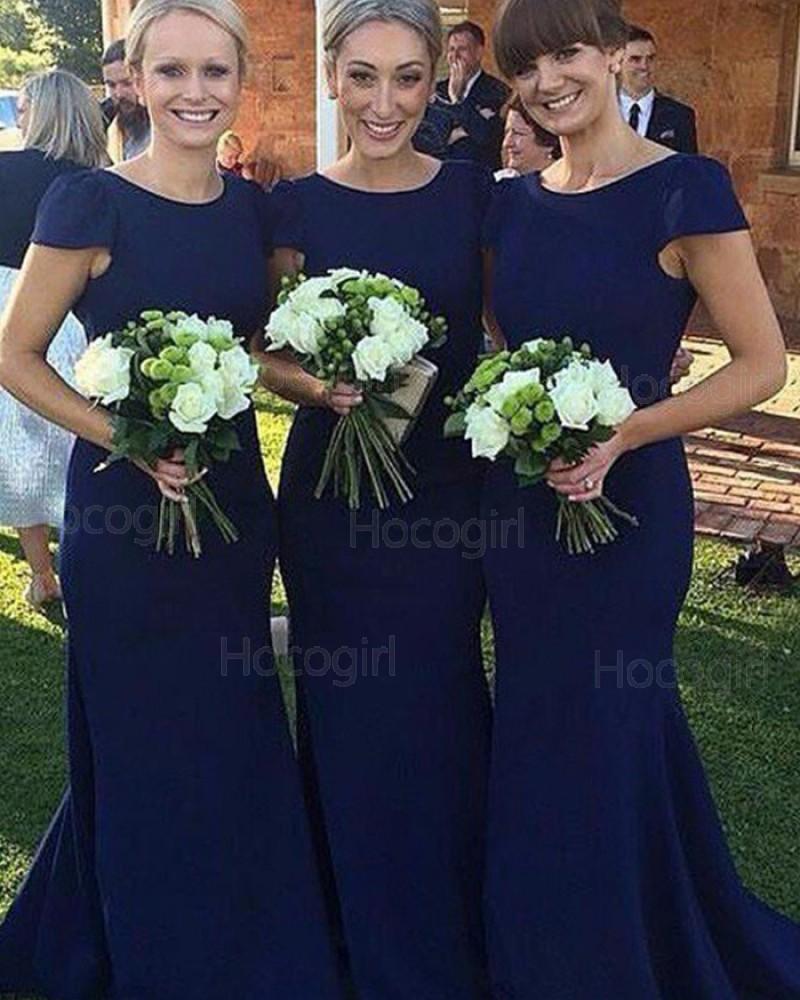 Simple Jewel Blue Mermaid Bridesmaid Dress with Cap Sleeves BD2054