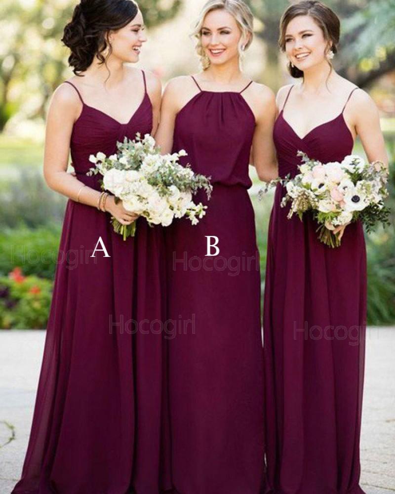 Spaghetti Straps Burgundy Chiffon Ruched Long Bridesmaid Dress BD2068