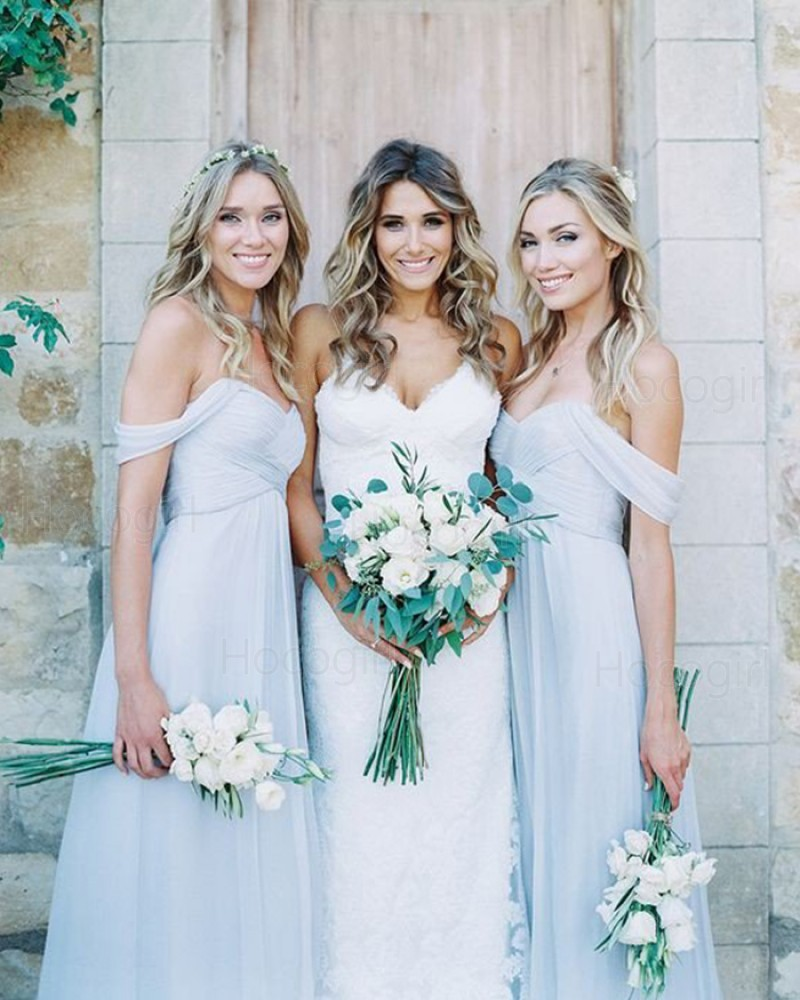 Off the Shoulder Ruched Dusty Blue Chiffon Bridesmaid Dress BD2075