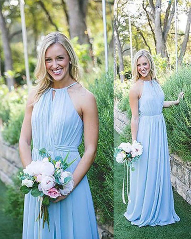 Halter Ruched Long Chiffon Blue Bridesmaid Dress BD2082