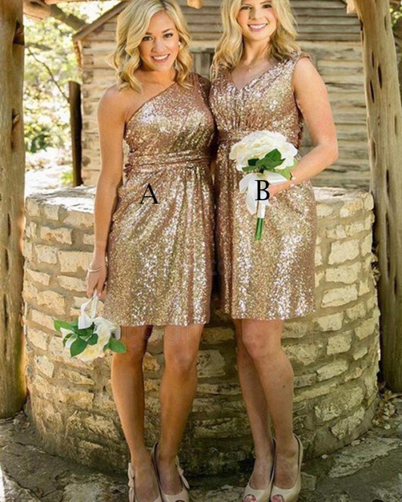 One Shoulder Gold Sequined Short Bridesmaid Dress BD2085