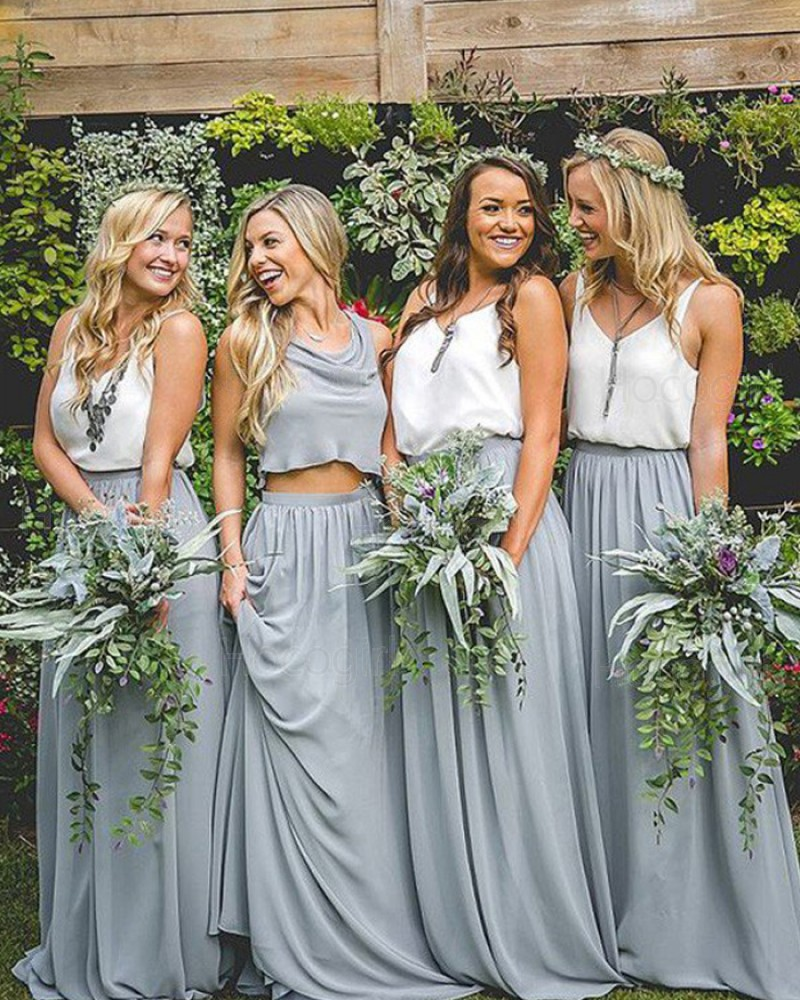 V-neck White and Dusty Blue Chiffon Pleated Long Bridesmaid Dress BD2087