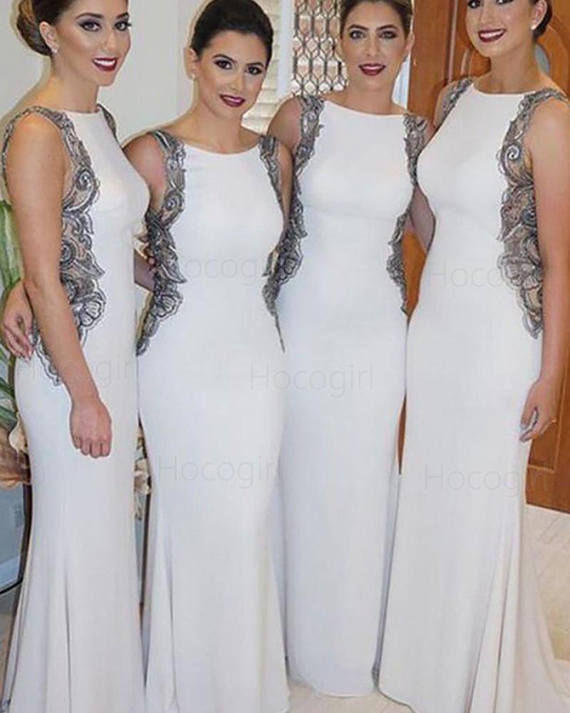 Bateau Ivory Mermaid Long Bridesmaid Dress with Black Lace Appliques BD2092