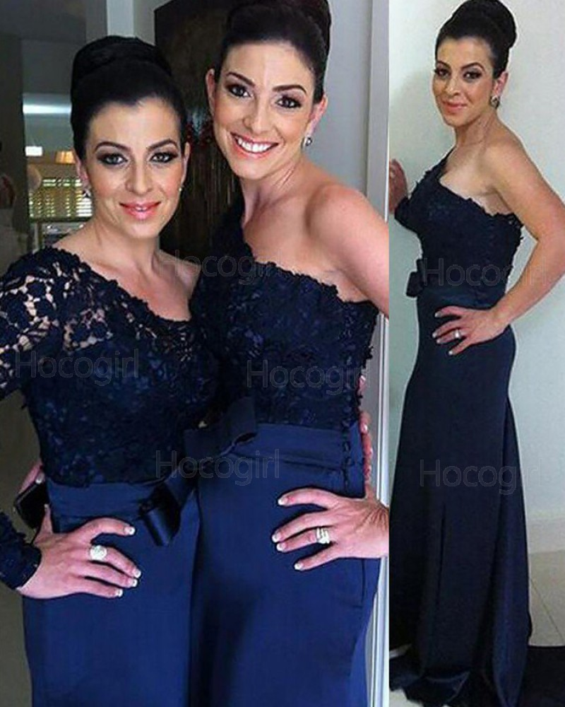 One Shoulder Navy Blue Lace Bodice Mermaid Bridesmaid Dress with Long Sleeve BD2093