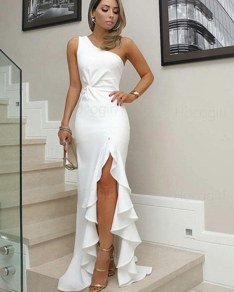 ebfc9206d93f -17% One Shoulder White Satin Mermaid Long Formal Dress with Pleated Slit  BD2095