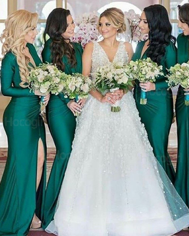 V-neck Green Satin Mermaid Long Sleeve Bridesmaid Dress with Slit BD2102