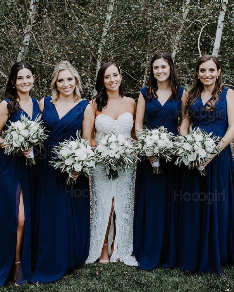 Simple V-neck Ruched Navy Blue Chiffon Bridesmaid Dress with Side Slit BD2113