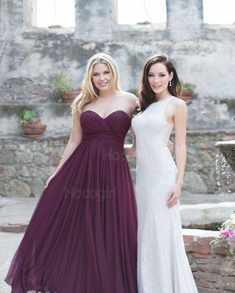 Sweetheart Ruched Chiffon Simple Burgundy Bridesmaid Dress BD2122