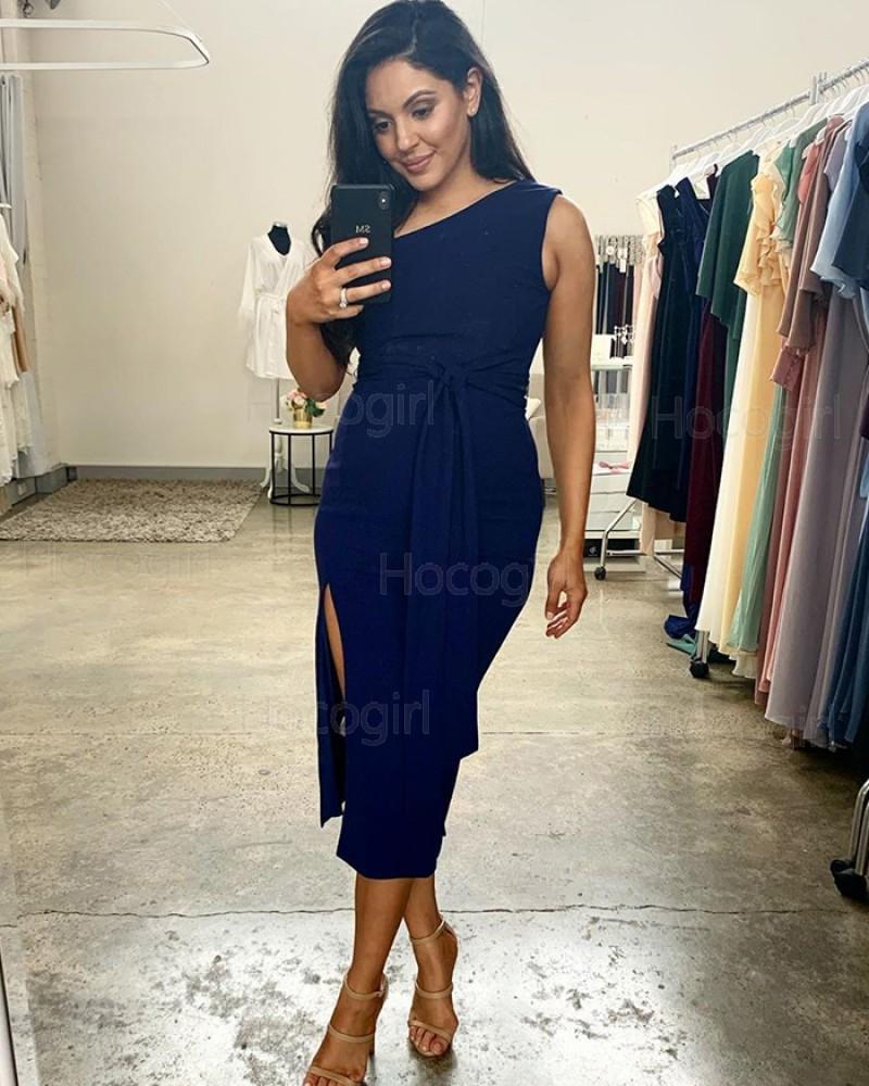 Tea Length One Shoulder Blue Sheath Bridesmaid Dress with Side Slit BD2146