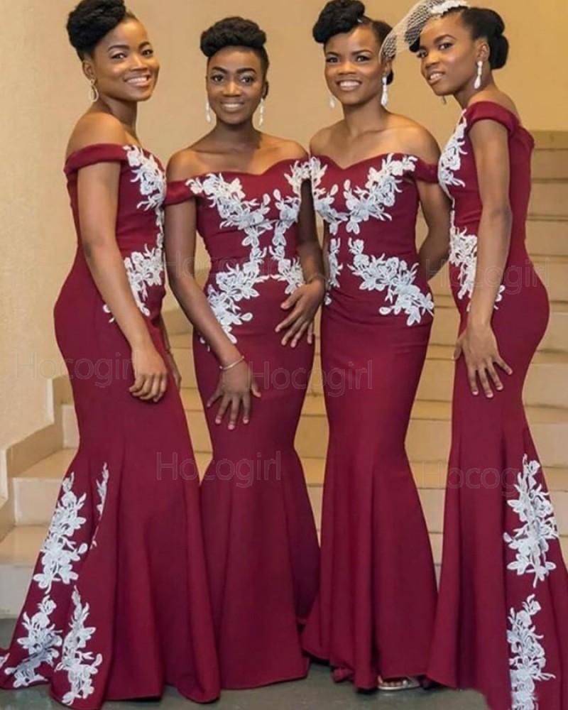 Off the Shoulder Appliqued Burgundy Mermaid Satin Bridesmaid Dress w
